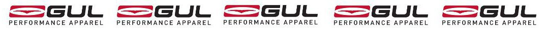 GUL performance apparel logo repeated 5 times